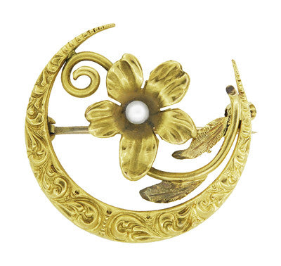Antique Victorian Scroll Crescent Flower Brooch in 12 Karat Gold