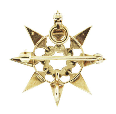 Antique Victorian Seed Pearl Starburst Pendant Brooch 14 Karat Yellow Gold - Item: BR191 - Image: 2