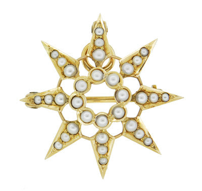 Antique Victorian Seed Pearl Starburst Pendant Brooch 14 Karat Yellow Gold - Item: BR191 - Image: 1