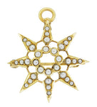 Antique Victorian Seed Pearl Starburst Pendant Brooch 14 Karat Yellow Gold