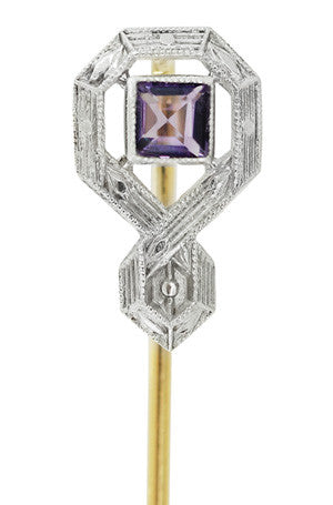Art Deco Antique Amethyst Stickpin in 14 Karat Yellow Gold with Platinum Top - Item: BR196 - Image: 1