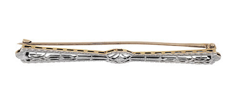 Platinum Topped Art Deco Filigree Arrow Bar Brooch in 14 Karat Yellow Gold - Item: BR200 - Image: 1