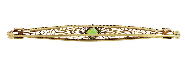 Art Deco Filigree Peridot Bar Brooch in 14 Karat White and Yellow Gold - Item: BR204 - Image: 1