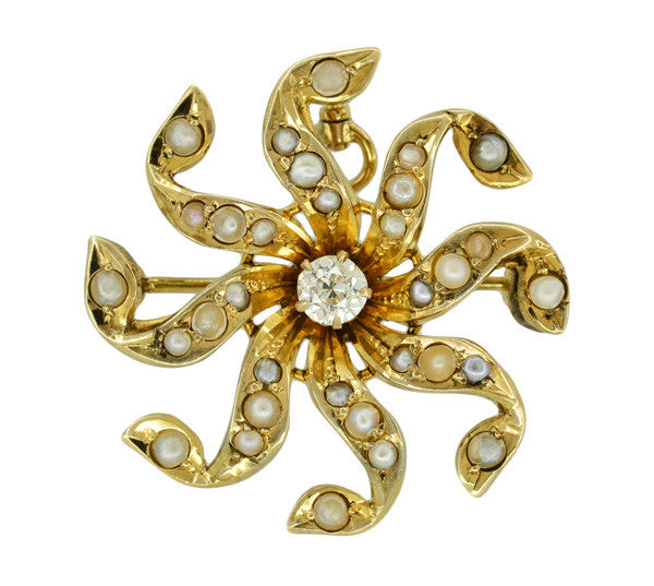 Antique Victorian Diamond and Seed Pearl Scroll Sunburst Pendant Brooch in 10 Karat Gold - Item: BR210 - Image: 1