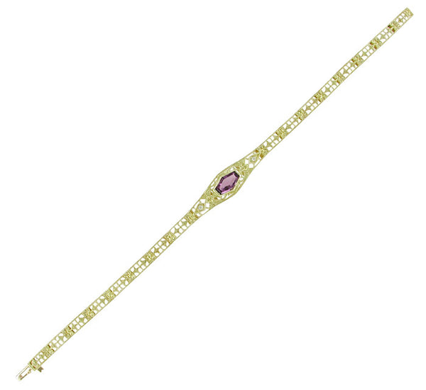 Art Deco Filigree Amethyst and Diamond Bracelet in 14 Karat Gold - Item: BRV17 - Image: 1