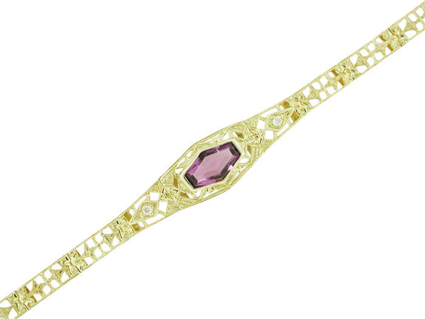 Art Deco Filigree Amethyst and Diamond Bracelet in 14 Karat Gold