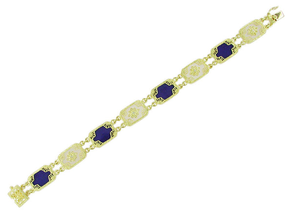 Art Deco Filigree Lapis Lazuli and Diamond Bracelet in 14 Karat Gold - Item: BRV21 - Image: 1