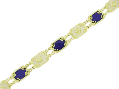 Art Deco Filigree Lapis Lazuli and Diamond Bracelet in 14 Karat Gold