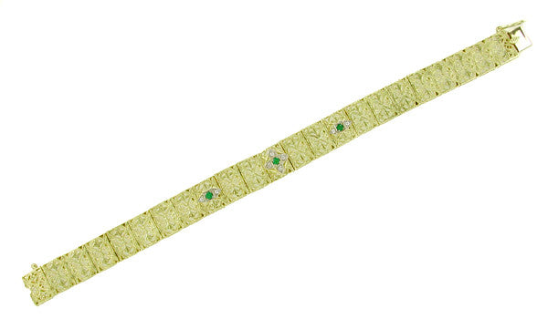 Art Deco Filigree Emerald and Diamond Vintage Bracelet in 14 Karat Gold - Item: BRV46 - Image: 1