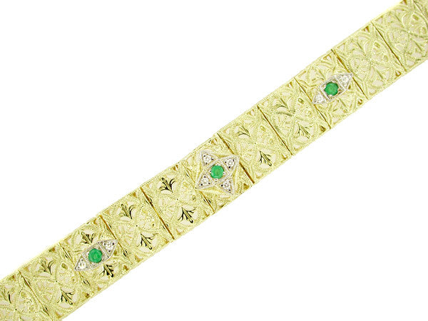 Art Deco Filigree Emerald and Diamond Vintage Bracelet in 14 Karat Gold