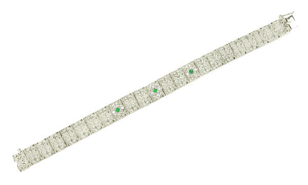 Antique Inspired Art Deco Filigree Emerald & Diamond Engraved Bracelet in 14 Karat White Gold - Item: BRV46W - Image: 1