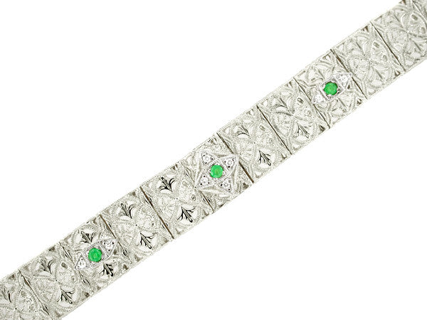 Antique Inspired Art Deco Filigree Emerald & Diamond Engraved Bracelet in 14 Karat White Gold