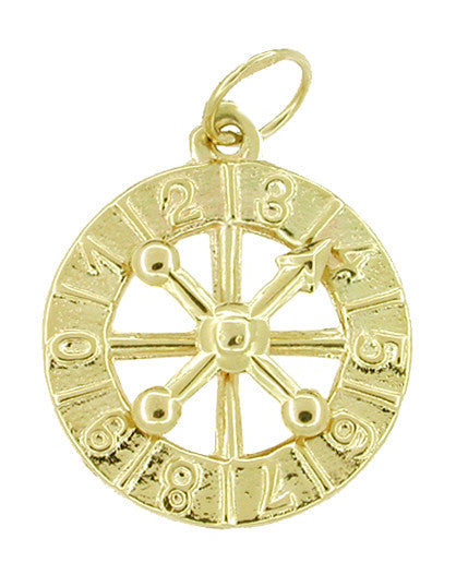 Movable Mystery Numbers Wheel Charm 14 Karat Gold