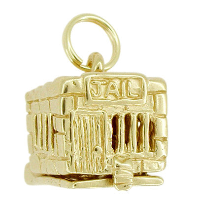 Movable Jail House Charm in 14 Karat Gold