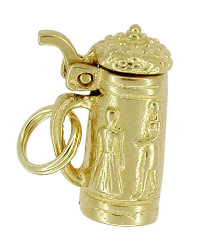 Movable Enchanting Beer Stein Charm in 14 Karat Gold - Item: C251 - Image: 1