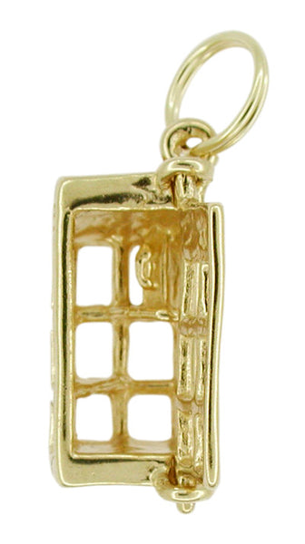 Movable Telephone Booth Charm in 14 Karat Gold - Item: C252 - Image: 1