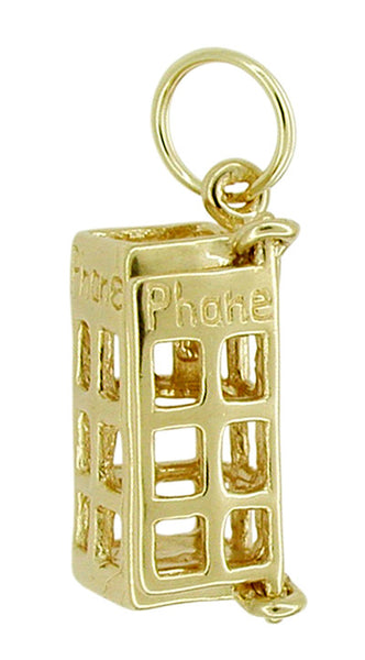Movable Telephone Booth Charm in 14 Karat Gold