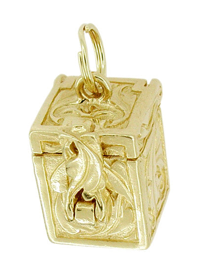 Movable Box of Dreams Pendant in 14 Karat Gold - Engraved Box Charm - Item: C253 - Image: 1