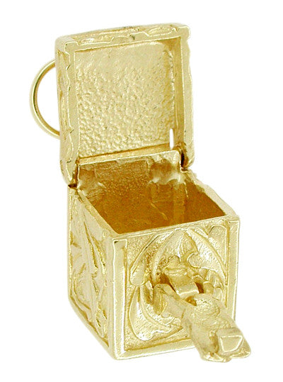 Movable Box of Dreams Pendant in 14 Karat Gold - Engraved Box Charm