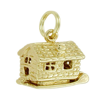 Movable Cozy Cabin Charm in 14 Karat Gold