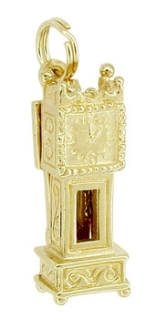Movable Opening Grandfather Clock Charm in 14 Karat Gold