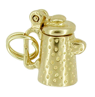 Movable Coffee Pot Charm in 14 Karat Gold - Item: C257 - Image: 1
