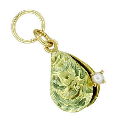 Enameled Oyster Vintage Charm Set with Natural Seed Pearl in 14 Karat Gold