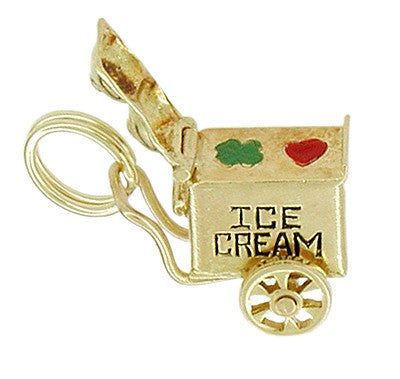 Movable Ice Cream Cart Charm in 14 Karat Gold