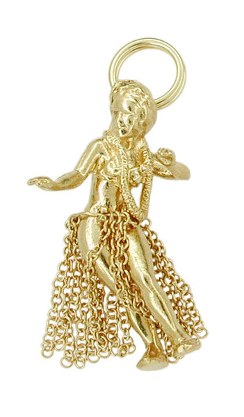 Movable Hawaiian Hula Dancer Charm in 14 Karat Gold