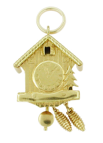 Vintage Movable Swiss Chalet Cuckoo Clock Charm in 18 Karat Gold