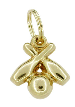 Pins and Ball Bowling Charm in 14 Karat Gold