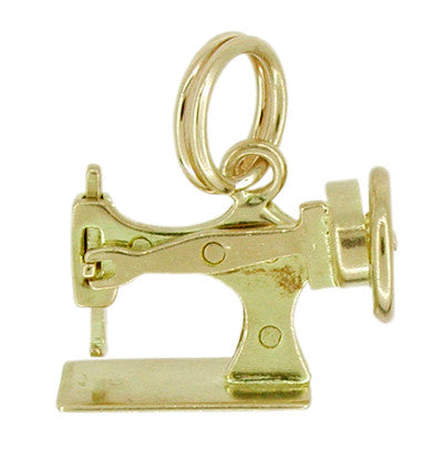Movable Sewing Machine Charm in 14K Gold