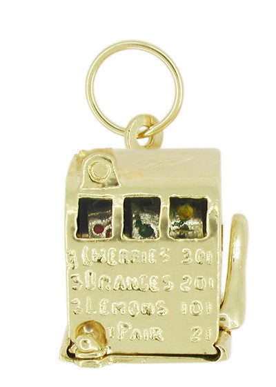 Movable Slot Machine Charm in 14 Karat Gold