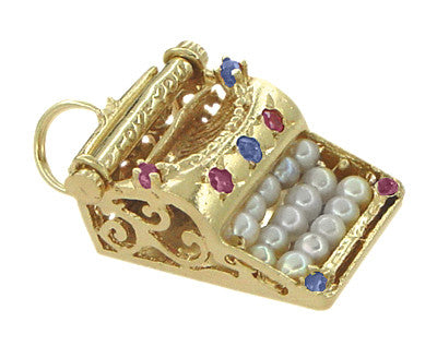 """I Love You"" Gem Set Typewriter Charm in 14 Karat Gold - Item: C288 - Image: 1"