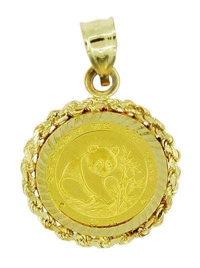 1988 1/20 Oz. Panda Coin Charm Pendant with 14 Karat Gold Rope Bezel