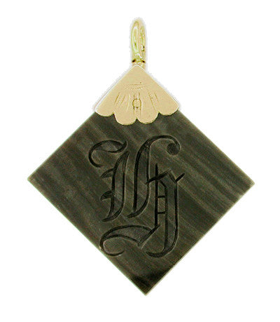 "Old English Initial ""H"" Agate Pendant in 12 Karat Gold"