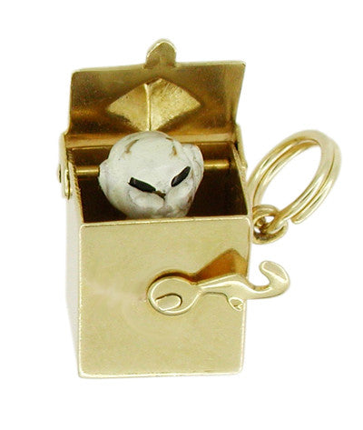 Movable Vintage Jack in the Box Charm in 14 Karat Gold