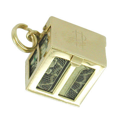 Movable Money Vault Charm in 14 Karat Gold