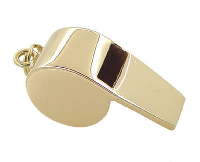 Small Working Whistle Charm Pendant in 14 Karat Yellow Gold