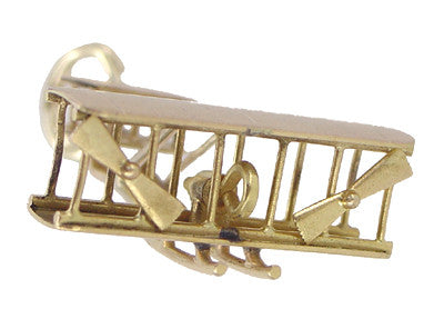 Double Engine Biplane Charm in 14 Karat Gold - Item: C325 - Image: 1