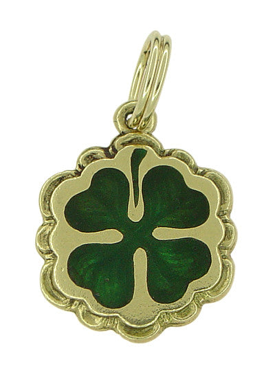 Green Enamel Lucky 4 Leaf Clover Charm in 14K Yellow Gold