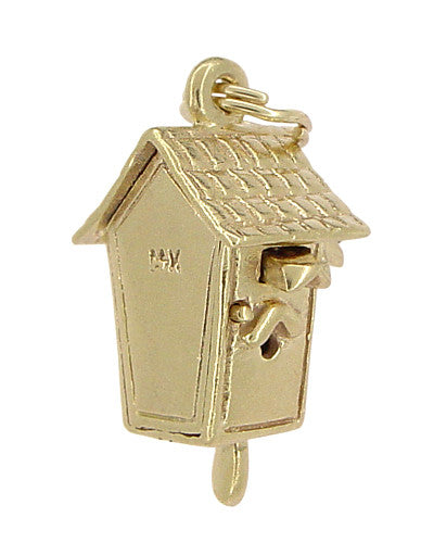 Movable Cuckoo Clock Charm in 14 Karat Gold - Item: C335 - Image: 2