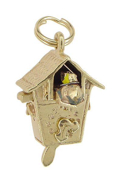 Movable Cuckoo Clock Charm in 14 Karat Gold - Item: C335 - Image: 1
