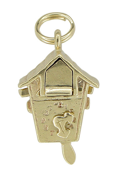 Movable Cuckoo Clock Charm in 14 Karat Gold