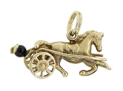 Sulky Trotter Race Horse Movable Charm in 14 Karat Gold