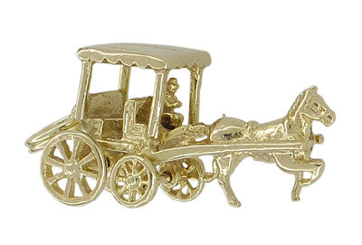 Bermuda Horse Drawn Carriage Movable Charm in 9 Karat Gold - Item: C340 - Image: 2