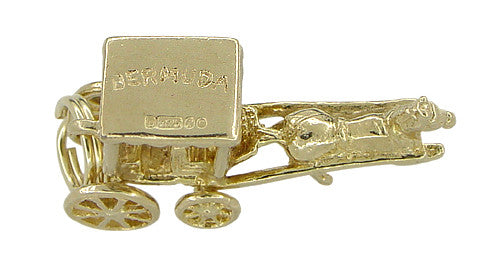 Bermuda Horse Drawn Carriage Movable Charm in 9 Karat Gold - Item: C340 - Image: 1