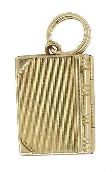 Vintage Lords Prayer Opening Book Movable Charm in 14 Karat Gold - Item: C344 - Image: 2