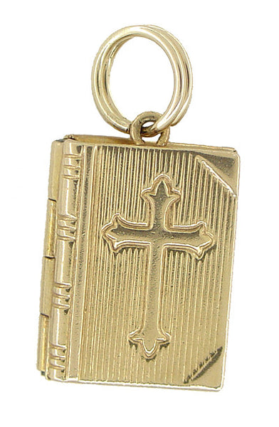 Vintage Lords Prayer Opening Book Movable Charm in 14 Karat Gold - Item: C344 - Image: 1