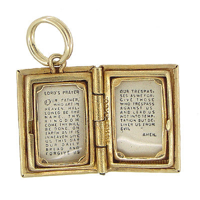 Vintage Lords Prayer Opening Book Movable Charm in 14 Karat Gold